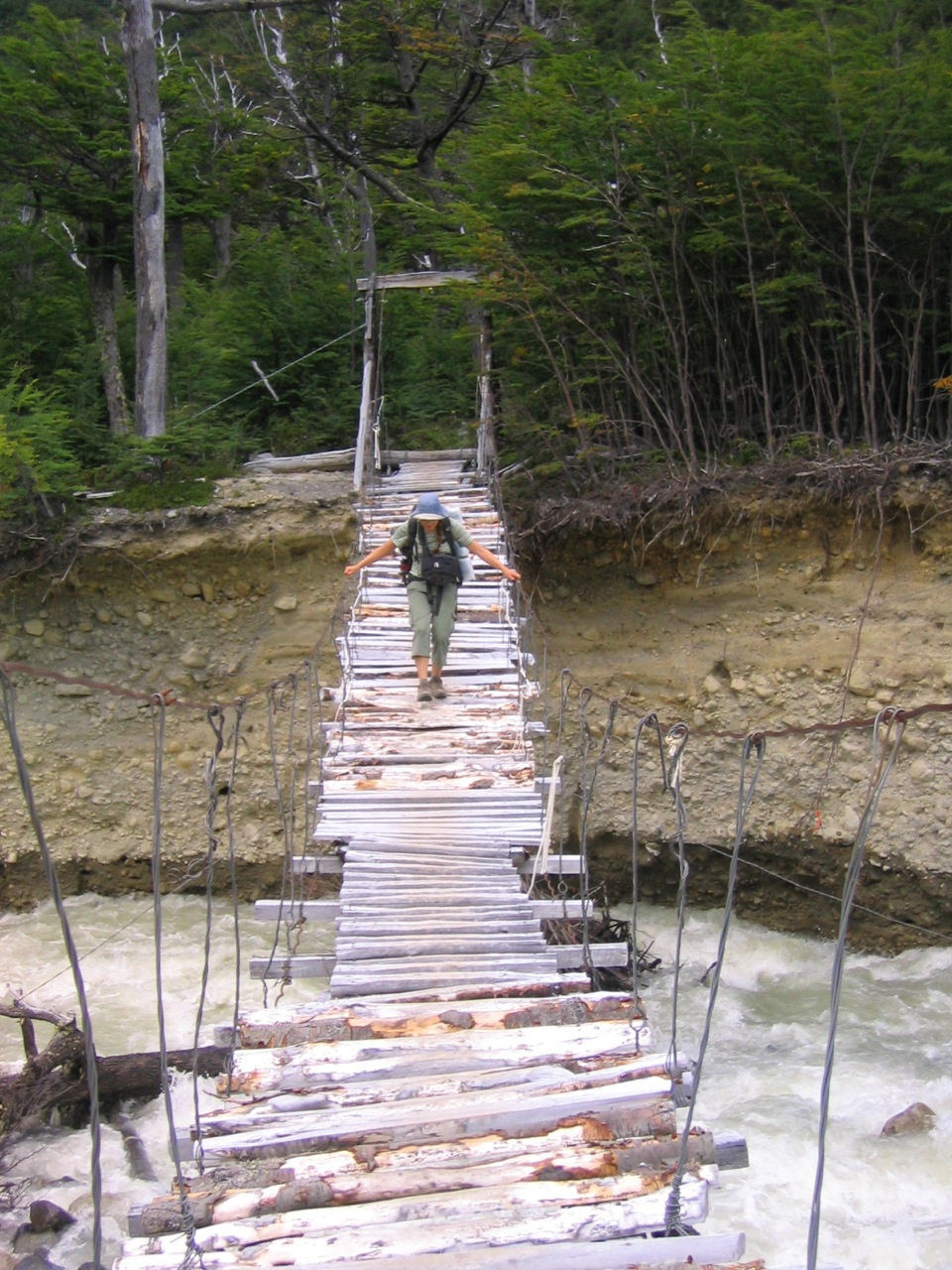 A very unsafe bridge to cross, Torres del Paine, Chile